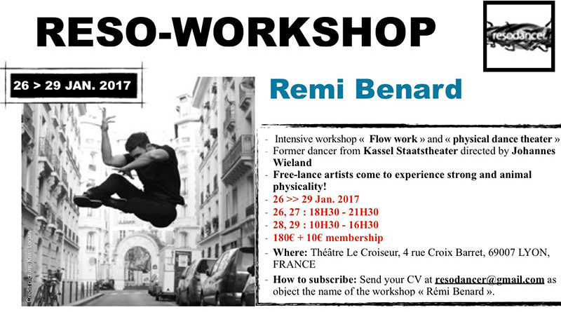Reso-Workshop | Intensive Workshop « Flow Work » & « Physical Dance Theater » with Rémi Benard