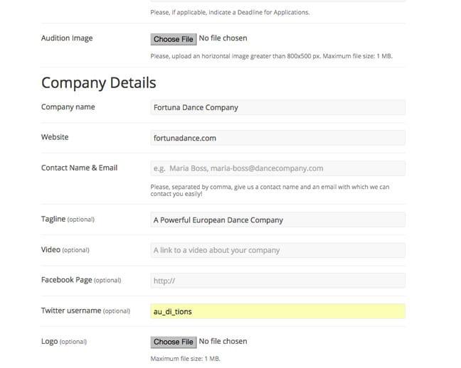 Company Details Form