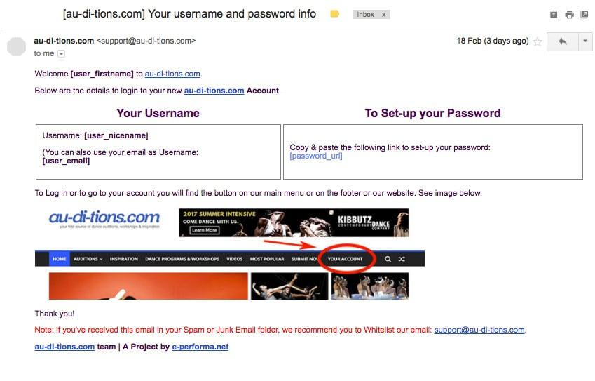 Email with the Account Credentials